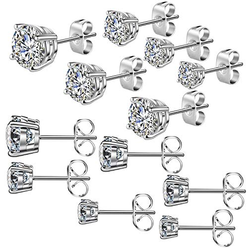 Cadiaon Women?s Stud Earrings: Round Cubic Zirconia, Stainless Steel, Plated White Gold, 3-8mm (6 Pairs)