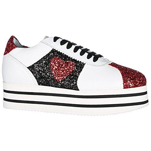 Chiara Ferragni Chaussures Baskets Sneakers Femme en Cuir Blanc 3Kxof