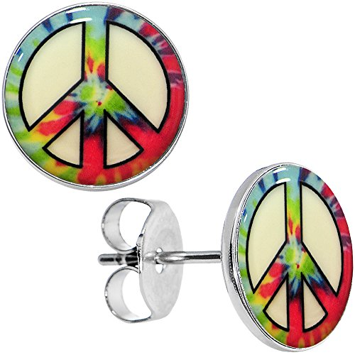 Body Candy Stainless Steel Tie Dyed Peace Sign