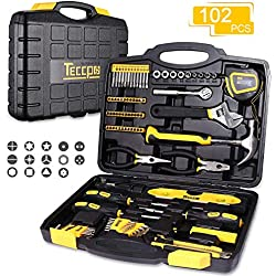 Tool Set, TECCPO 102-Piece Home Tool Kit with Hammer, Wrenches, Precision Screwdriver Set, Pliers and Toolbox Storage Case for Household Repair-THTC01H