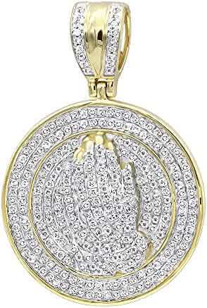 Mens 14K Gold Hip Hop Jewelry: Praying Hands Diamond Pendant Medallion 0.9ctw by Luxurman