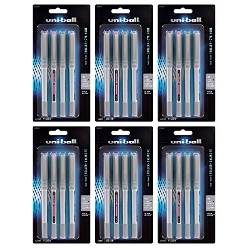 Uni-Ball Vision Stick Roller Ball Pens, 0.7mm, Fine Point, Assorted Fashion Colors, (Uni Ball Vision Needle)