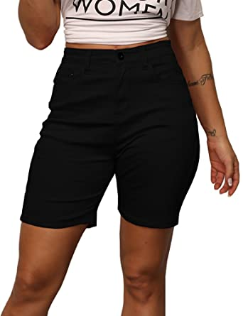 ddb9a7c83 Zaoqee Women's High Waisted Knee Length Denim Shorts with Pockets Stretchy  Jeans Black S