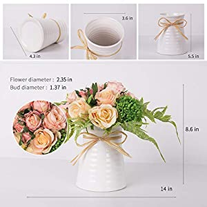 YUYAO Artificial Flowers Rose Bouquets with Vase Fake Silk Flower with Ceramic Vase Modern Bridal Flowers for Wedding Home Table Office Party Patio Decoration (Pink) 4