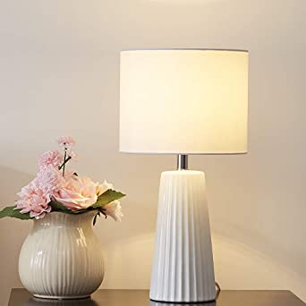 Vicnie Modern Ceramic Bedside Table Lamps with Cream White lampshades,Max 60W for E27,220 230V