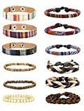 Jstyle 6-12Pcs Wrap Bracelets for Women Men Hemp Cords Ethnic Tribal Bracelet Wooden Beads Leather Bracelets Wristbands