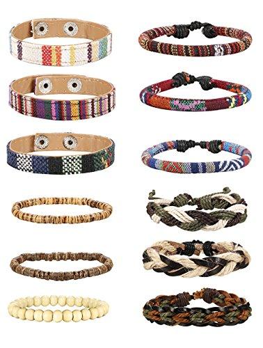 Jstyle 6-12Pcs Wrap Bracelets for Women Men Hemp Cords Ethnic Tribal Bracelet Wooden Beads Leather Bracelets Wristbands by Jstyle