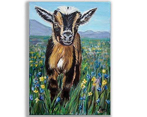 Baby Goat Wall Art Print for Kitchen Farmhouse Decor or Animals Themed Nursery, Size Mat - Kitchen Western Pictures