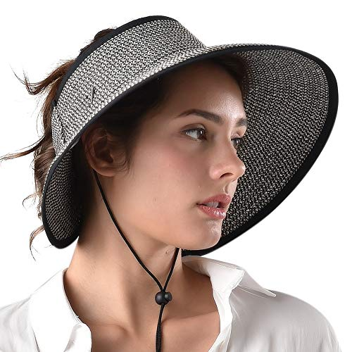 Sun Visor Hats for Women Foldable Packable Wide Brim Straw Hat UV Protection UPF 50 Ponytail Beach Hat (One Size, Mix Black)
