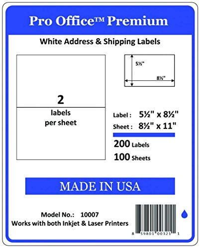 (Pro Office Premium 200 Half Sheet Self Adhesive Shipping Labels for Laser Printers and Ink Jet Printers, White, Made in USA, 5.5 x 8.5 Inches, Pack of 200, Same Size As 8126 and More)
