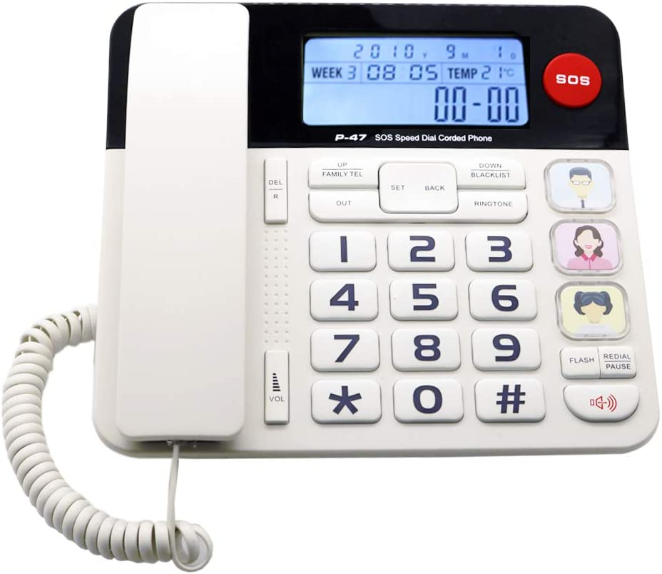 Home Landline Phone with Caller ID, HePesTer P-47 Upgrade Corded Phone for Home with Luminous&Large Button/Clear Volume/SOS Emergency Button/Speed Dial Memory/Blacklist