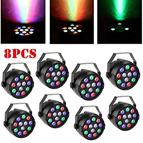 8PCs RGBW PAR64 12 LED DMX-512 Proyector Luz del Club Luz de Suelo ...
