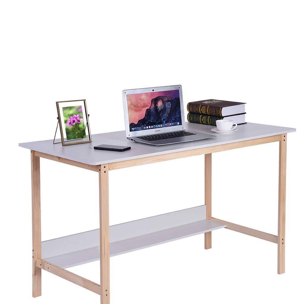 Alalaso Home Office Computer Desk Study Desk Simple Modern Bedroom Solid Wood Table Sturdy Writing Desk (Ship from USA) by Alalaso