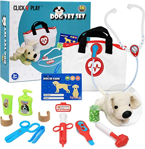 Click N' Play Pretend Play Pet Examine and Treat Vet Veterinary Doctor Play Set for Animal Pets Dogs 16 Pieces -