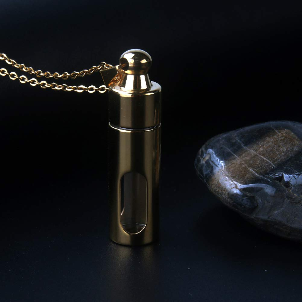 NBKING Glass Container Tube Urn Keepsake Cremation Ashes Memorial Pendant Stainless Steel Necklace