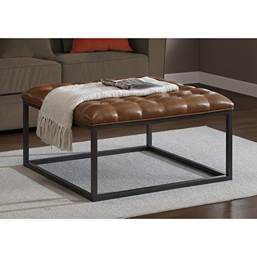 Healy Saddle Brown Contemporary Leather Tufted Ottoman
