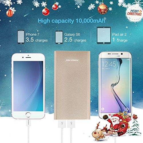 Upgraded Poweradd 34A Pilot 2GS 10000mAh strengthen USB portable Charger External Battery Pack with the help of superior tempo ask for for iPhone iPad Samsung Galaxy and more Gold Apple Cable Not listed instant Accessories