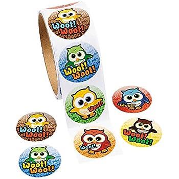 Owl Sticker Rolls (100 pcs. per Roll, Shrink-wrapped) 1 1/2