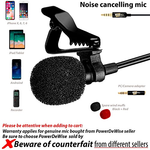 Lavalier Lapel Microphone with Easy Clip On System - Perfect for Recording Youtube Vlog Interview/Podcast - Best Lapel Mic for iPhone 5, 6, 6s, 7, 7 plus, 8, X iPad iPod Android Mac PC ASMR by YouMic
