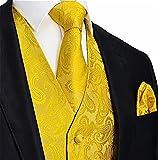 Brand Q Men's 3pc Paisley Vest Set-Yellow Gold-L