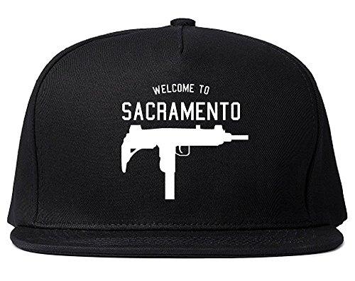 (Kings Of NY Welcome to Sacramento Uzi Machine Gun California Snapback Hat Cap Black)