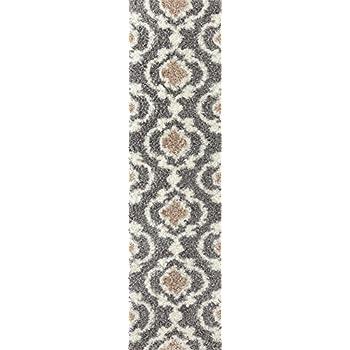 "Cozy Moroccan Trellis Indoor Shag Runner Rug 2 x 72"" Gray/Cream"