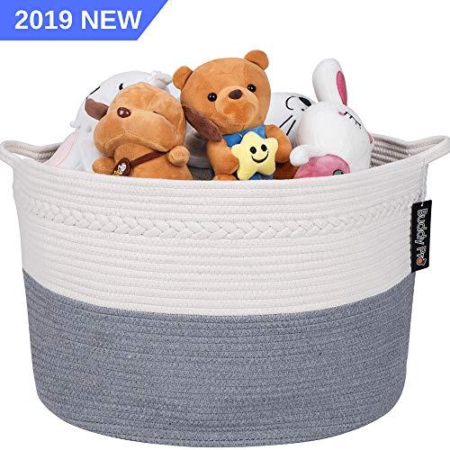 "Buddy Pro Extra Large Cotton Rope Basket/Wide 22"" X 14""/Blanket Basket/Woven Basket/Baby Toy Basket/Laundry Basket/Nursery Hamper/Living Room Bin Organizer Round Grey White Storage Baskets With Handle"