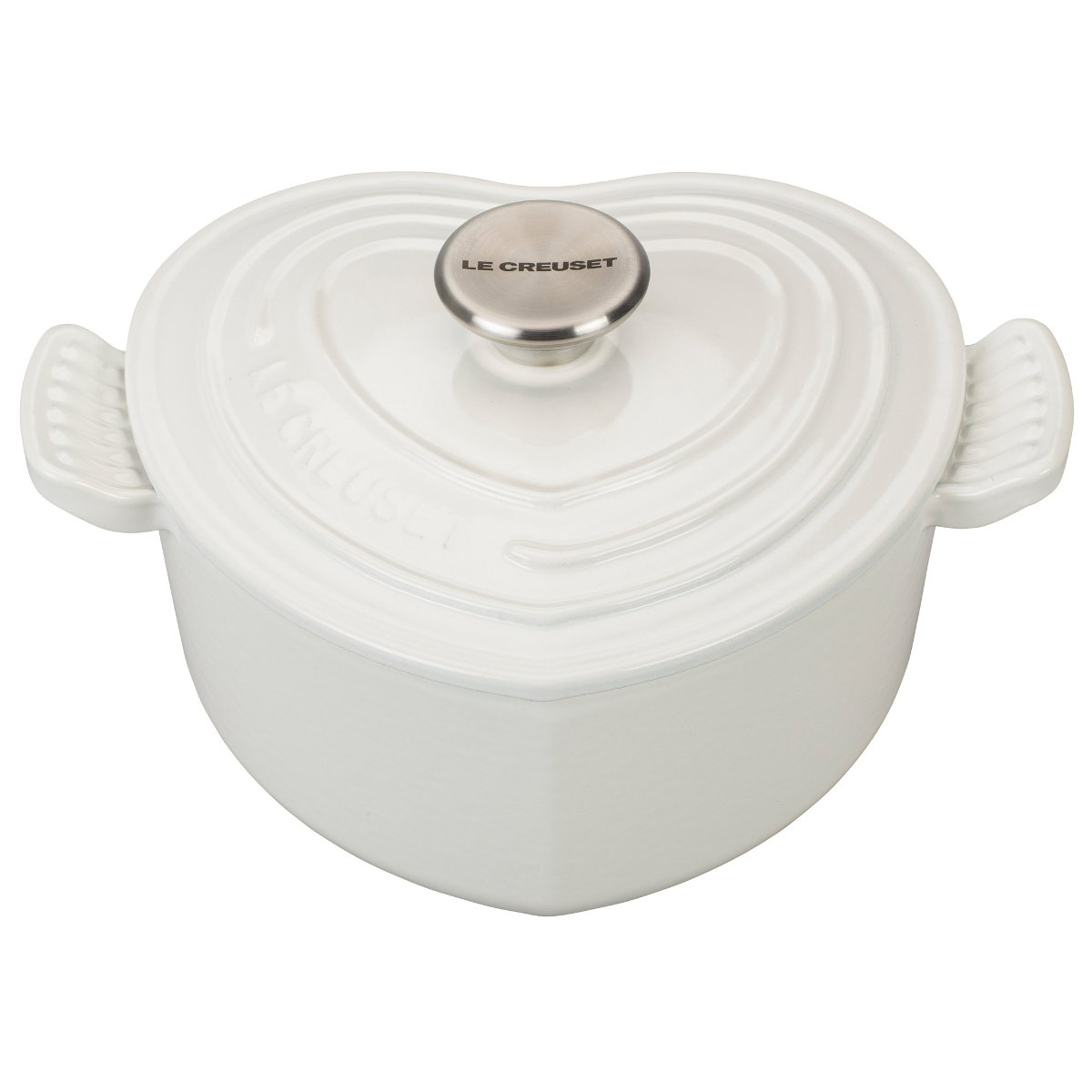 Le Creuset L25C1-0216S Signature Cast Iron Heart Shaped Dutch Oven With Stainless Steel Knob 2.25 quart White