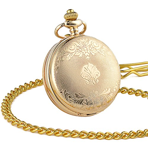 ManChDa Double Cover Roman Numerals Dial Golden Hand Wind Skeleton Mens Women Pocket Watch Gift by ManChDa (Image #4)