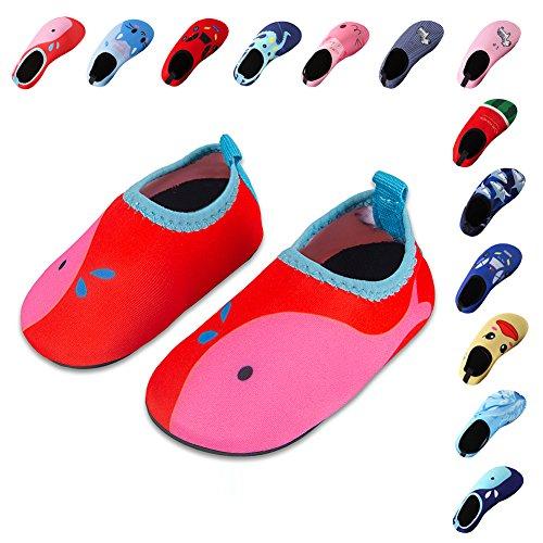 Laiwodun Kleinkind Schuhe Schwimmen Wasser Schuhe Mädchen Barefoot Aqua Schuhe für Beach Pool Surfen Yoga Unisex red-pink