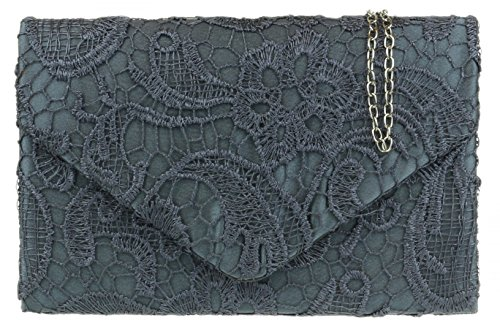 Gift Womens Girly HandBags Grey Evening Elegant Clutch Chain Satin Bag Shoulder Coral Lace Wedding UPwvq6Ur