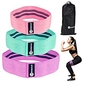 Resistance Booty Bands Set - 3 Non-Slip Fabric Loop Resistance Bands - Slingshot Elastic Exercise Bands are Perfect for Gym, Glute, Squat, Leg Workout - Fitness Hip Circle Bands with Carry Bag & Guide