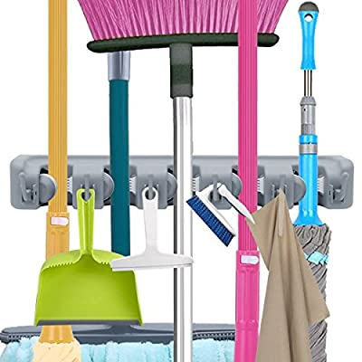Mop Broom Holder, Garden Tools Wall Mounted Commercial Organizer Saving Space Storage Rack for Kitchen Garden and Garage,Laundry Offices