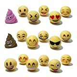 Pencil Top Erasers - Emoji Erasers for Kids - Fun Pencil Top Eraser - Everything Emoji Cute Pencil Eraser Tops (Set 4 (18 pack))
