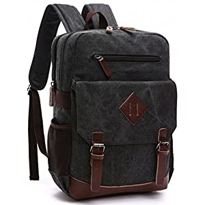 Kenox Mens Large Vintage Canvas Backpack School Laptop Bag Hiking Travel Rucksack (Black)
