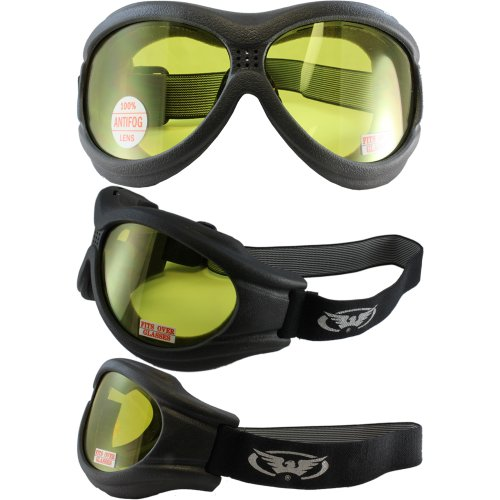Big Ben Black Frame Motorcycle Goggles with Yellow Shatterproof Anti-Fog Polycarbonate Lenses and Soft Airy Foam (Foam Airy Soft)