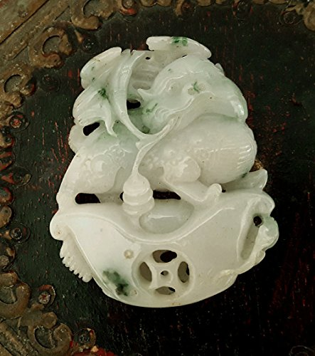 Natural Jade jadeite Pendant, Green Jade Pendant, Jade Carving,Chinese Collectibles,Burma Jade Carving Pendant-Qillin (麒麟) And Ignot money (Green Jade Carving)