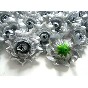 """(100) Silk Silver Roses Flower Head - 1.75"""" - Artificial Flowers Heads Fabric Floral Supplies Wholesale Lot for Wedding Flowers Accessories Make Bridal Hair Clips Headbands Dress 3"""