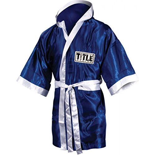 TITLE Boxing Full Length Stock Satin Robe, Royal/White, Youth Large
