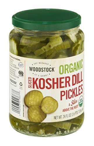 Woodstock Organic Kosher Dill Pickles Sliced 24 OZ (Pack of 12) by Woodstock Farms