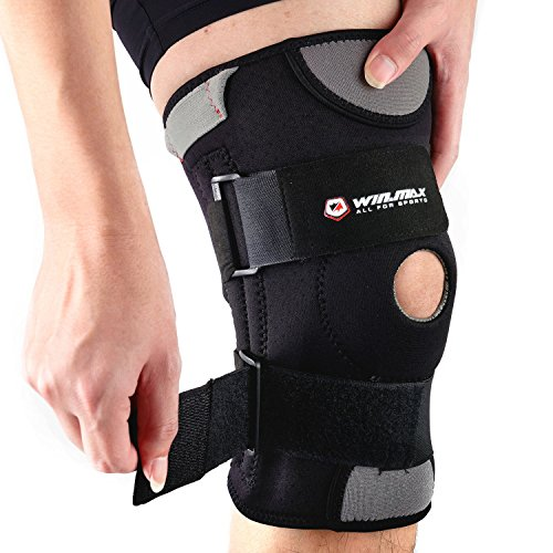 WIN.MAX Knee Brace, Knee Pads, Adjustable Knee Support-Open-Patella Stabilizer Non-Slip With Medical Grade Quality Breathable Neoprene for Any Sport Protection, Recovery and Pain Relief (M) Adjustable Soft Pads