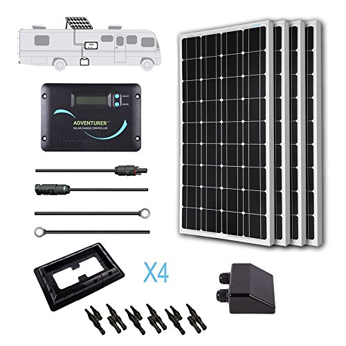 Renogy 400 Watts 12 Volts Monocrystalline Solar RV Kit -- with Adventurer Negative Grounded Controller & Corner Bracket Mounts
