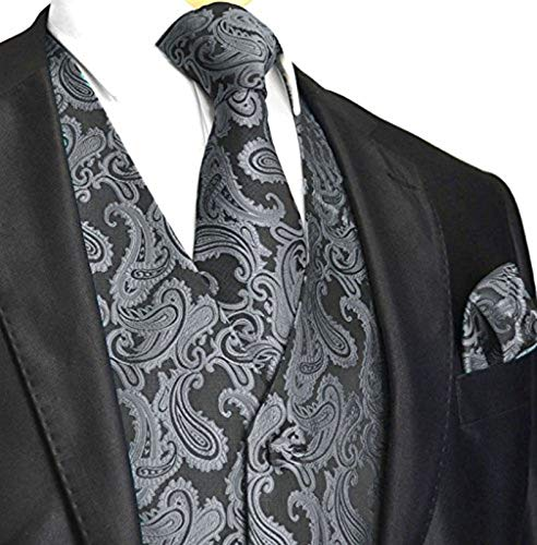 Tux Vest Mens - Men's 3pc Paisley Vest (2XL (Chest 48), Charcoal)
