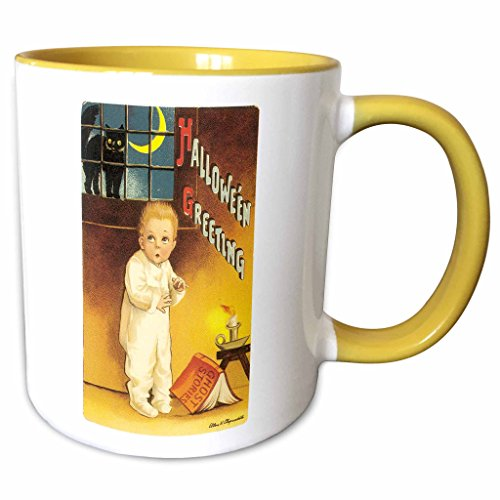 3dRose BLN Vintage Halloween - Vintage Halloween Greetings with a Cutle Child Reading a Scary Ghost Story - 15oz Two-Tone Yellow Mug (mug_126136_13)]()