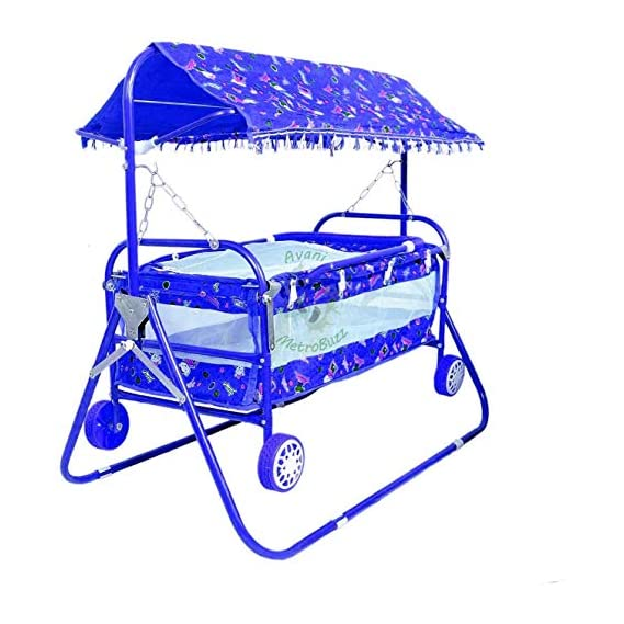 Avani MetroBuzz Baby Cradle Cum Pram with Hood (Blue)