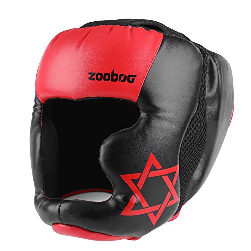 Flexzion MMA Headgear - UFC Muay Thai Kickboxing Martial Arts Sparring Taekwondo Karate Fighting Sports Boxing Wrestling Maya Hide Leather Helmet Protection Supplies Equipment for Men Women