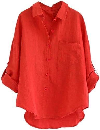 Camisas Manga Larga Mujer, Camisetas Mujer, Blusa Suelta de Manga Larga para Mujer, Camisa con Botones Sueltos para Mujer, Tops Casual Mujer por Venmo: Amazon.es: Ropa y accesorios