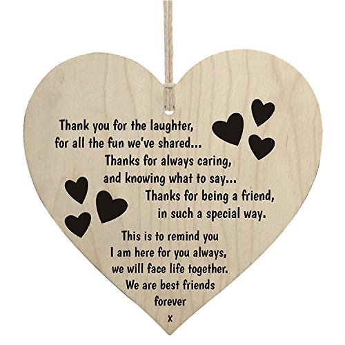 Best Friends Forever Wooden Hanging Heart Friendship Love Gift - Thank You Sign by meijiafei