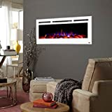 Touchstone 80029 - Sideline Electric Fireplace - 50 Inch Wide - in Wall Recessed - 5 Flame Settings - Realistic 3 Color Flame - 1500/750 Watt Heater - (White) - Log & Crystal Hearth Options