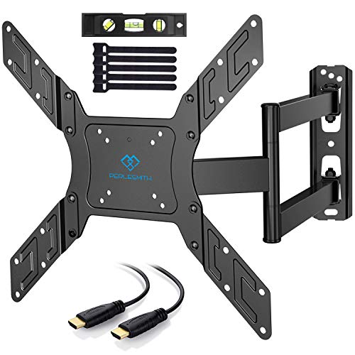 PERLESMITH TV Wall Mount for 23- 55 TVs with Swivel & Extends 19.5 - Wall Mount TV Bracket VESA 400x400 fits LED, LCD, OLED Flat Screen TVs up to 99 lbs - with HDMI Cable, Bubble Level & Cable Ties